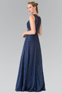 Elizabeth K GL1460 Floor Length Sleeveless Lace Dress in Navy - SohoGirl.com