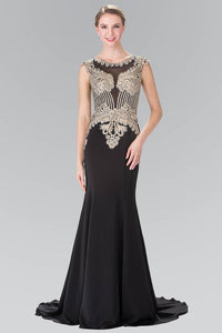 Elizabeth K GL1461 Beads Embellished Embroidery Long Dress with Sheer Back in Black