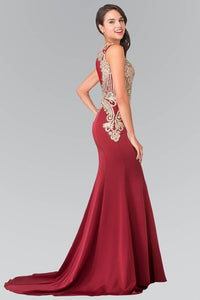 Elizabeth K GL1461 Beads Embellished Embroidery Long Dress with Sheer Back in Burgundy - SohoGirl.com