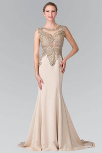ELIZABETH K GL1461 LONG BEADED EMBELLISHED BODICE ILLUSION BACK PROM DRESS IN CHAMPAGNE