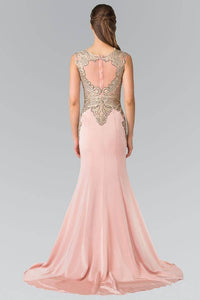 ELIZABETH K GL1461 LONG BEADED EMBELLISHED BODICE ILLUSION BACK PROM DRESS IN DARK ROSE - SohoGirl.com