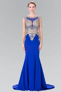 ELIZABETH K GL1461 LONG BEADED EMBELLISHED BODICE ILLUSION BACK PROM DRESS IN ROYAL BLUE