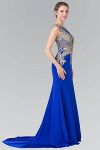 ELIZABETH K GL1461 LONG BEADED EMBELLISHED BODICE ILLUSION BACK PROM DRESS IN ROYAL BLUE - SohoGirl.com