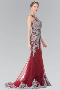 ELIZABETH K GL1462 LONG JEWEL EMBELLISHED MOCK V-NECK LACE ILLUSION PROM DRESS IN BURGUNDY-SILVER - SohoGirl.com