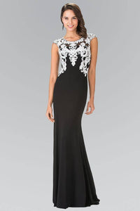 ELIZABETH K GL1472 LONG SLEEVELESS FLOOR LENGTH BEADED EMBELLISHED ILLUSION BACK PROM DRESS IN BLACK-WHITE - SohoGirl.com
