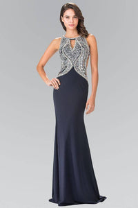 Elizabeth K GL1473 Open Back Floor Length with Jewel and Sequin Bodice in Navy-Silver - SohoGirl.com