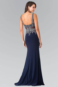 Elizabeth K GL1474 Beads Embellished Sleeveless V-Neck Floor Length Dress in Navy - SohoGirl.com