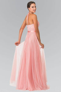 Elizabeth K GL1475 Embroidered Halter Bodice Floor Length Dress in Blush