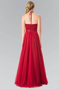 Elizabeth K GL1475 Embroidered Halter Bodice Floor Length Dress in Burgundy - SohoGirl.com