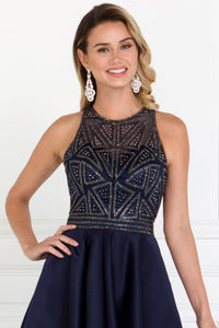 Elizabeth K GL1501 Mikado High-Low Dress in Navy - SohoGirl.com