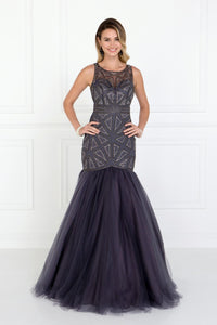 Elizabeth K GL1510 Embellished Tulle Trumpet Dress in Charcoal