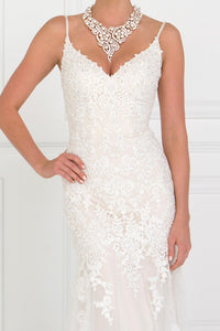 Elizabeth K GL1515 Lace V-Neck A-Line Long Dress With Lace Applique in Ivory-Champagne - SohoGirl.com