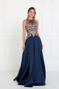 Elizabeth K GL1520 Mikado A-Line Dress Accented with Jewels in Navy - SohoGirl.com