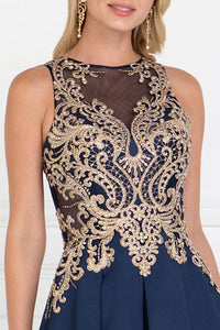 Elizabeth K GL1520 Mikado A-Line Dress Accented with Jewels in Navy