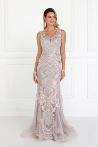 Elizabeth K GL1530 Mesh Mermaid Long Dress with Embroidery in Mauve