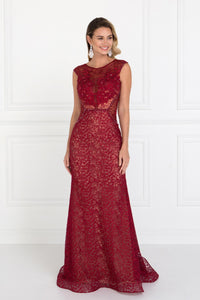 Elizabeth K GL1531 Lace Mermaid Long Dress with Beads in Burgundy - SohoGirl.com