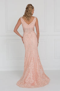 Elizabeth K GL1533 Lace Wide V-Neck Mermaid Long Dress with Beads Embellished In Peach