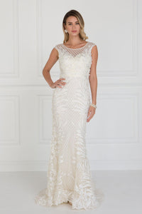 Elizabeth K GL1534 Mesh Mermaid Long Dress with Flower Attached In Ivory-Champagne - SohoGirl.com