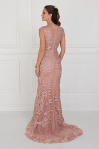 Elizabeth K GL1534 Mesh Mermaid Long Dress with Flower Attached In Mauve