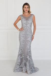 Elizabeth K GL1534 Mesh Mermaid Long Dress with Flower Attached In Silver - SohoGirl.com
