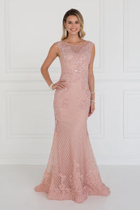 Elizabeth K GL1536 Mesh Mermaid Long Dress with Beads and Jewels Embellished In D Rose