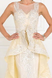 Elizabeth K GL1538 Sweetheart A-Line Long Dress with Organza Overlay in Ivory- Champagne - SohoGirl.com