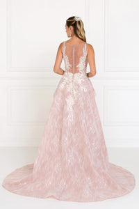 Elizabeth K GL1538 Sweetheart A-Line Long Dress with Organza Overlay in Mauve