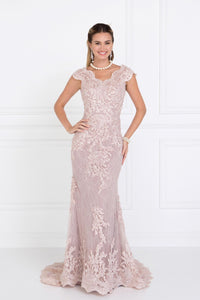 Elizabeth K GL1540 Embroidered Lace Mermaid Dress in Mauve - SohoGirl.com
