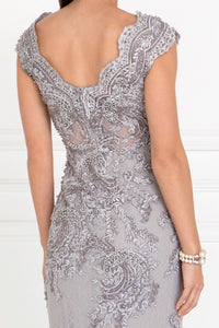 Elizabeth K GL1540 Embroidered Lace Mermaid Dress in Silver - SohoGirl.com