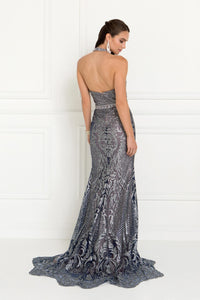 Elizabeth K GL1549 Tulle Halter Mermaid Dress in Navy - SohoGirl.com