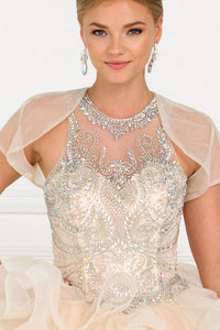 Elizabeth K GL1552 Sweetheart Ball Gown Dress in Champagne - SohoGirl.com