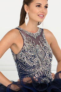 Elizabeth K GL1552 Sweetheart Ball Gown Dress in Navy - SohoGirl.com