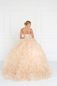 Elizabeth K GL1554 Organza Illusion Sweetheart Dress in Champagne