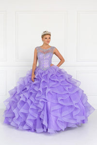 Elizabeth K GL1555 Tulle Cut-Out Back Dress in Lilac - SohoGirl.com
