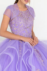 Elizabeth K GL1557 Tulle Embroidered Dress in Lilac