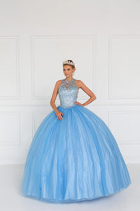 Elizabeth K GL1558 Tulle Dress with Jewels Embellished in Blue - SohoGirl.com