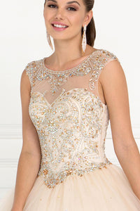 Elizabeth K GL1559 Tulle Illusion Sweetheart Dress in Champagne