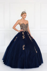 Elizabeth K GL1560 Strapless Sweetheart Dress in Navy Blue