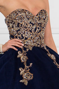 Elizabeth K GL1560 Strapless Sweetheart Dress in Navy Blue - SohoGirl.com
