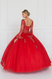 Elizabeth K GL1561 Bell Sleeves Gown Dress in Red
