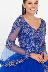 Elizabeth K GL1561 Bell Sleeves Gown Dress in Royal Blue