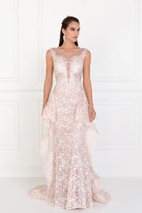 Elizabeth K GL1582 Lace Mermaid Long Dress with Sheer Back in Mauve