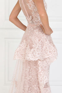 Elizabeth K GL1582 Lace Mermaid Long Dress with Sheer Back in Mauve - SohoGirl.com