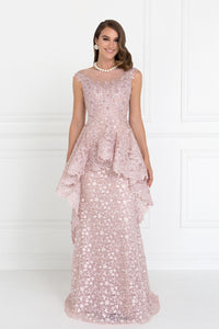 Elizabeth K GL1584 Lace Mermaid Long Dress with Tulle Overlay in Deep Rose - SohoGirl.com