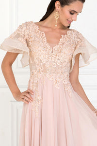 Elizabeth K GL1587 Chiffon Dress with Ruffled Short Sleeves in Champagne - SohoGirl.com