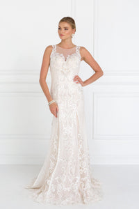 Elizabeth K GL1588 Lace Illusion Sweetheart Mermaid Long Dress in Ivory- Champagne - SohoGirl.com