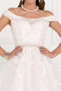 Elizabeth K GL1589 Mesh Off Shoulder Ball Gown Dress with Embroidery in Ivory- Champagne - SohoGirl.com