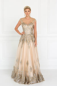 Elizabeth K GL1590 Illusion Sweetheart Dress in Champagne