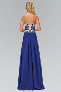 Elizabeth K GL2050H Lace Embroidered Strapless Sweetheart Bodice Full Length Chiffon Gown in Royal Blue