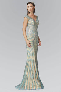 Elizabeth K GL2053D Open Back Striped Bead Embellished Sheer Overlay Full Length Satin Gown in Mint Nude
